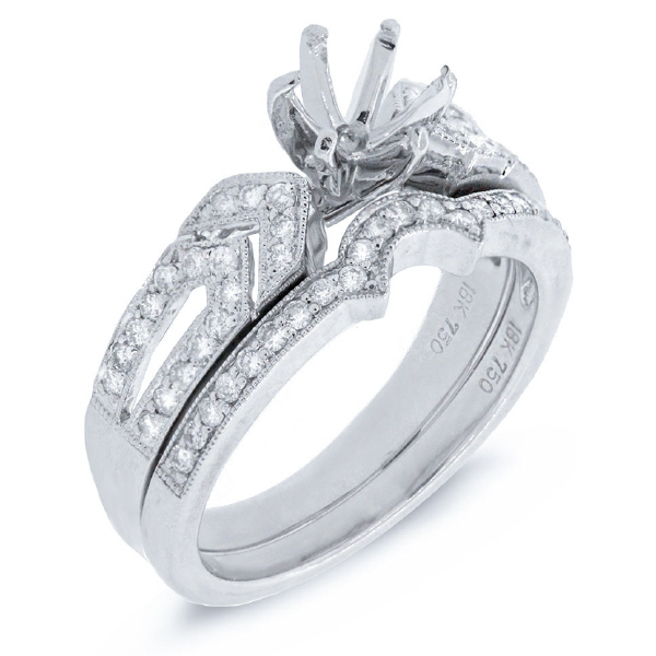 0.45ct 18k White Gold Diamond Semi-mount Ring 2-pc