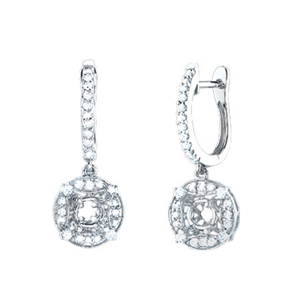 0.50ct 14k White Gold Diamond Semi-mount Earrings