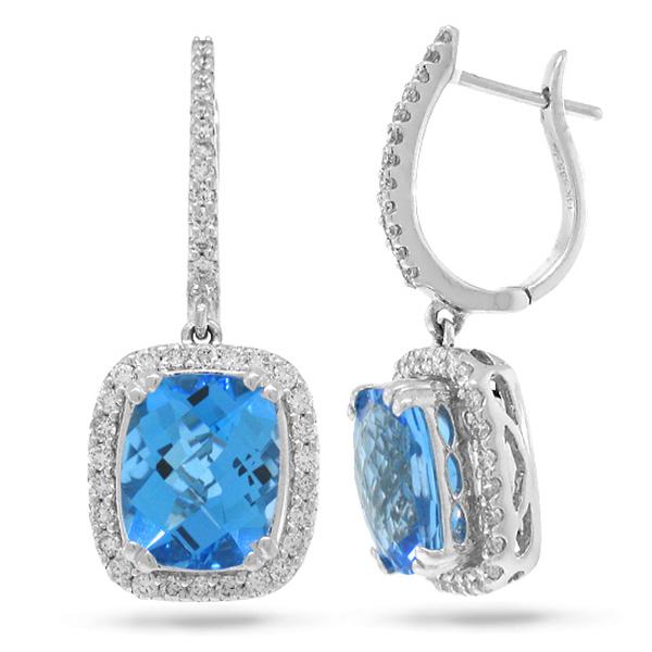 0.85ct Diamond & 6.40ct Blue Topaz 14k White Gold Earrings