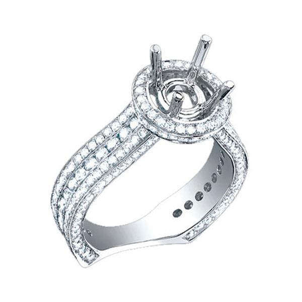 1.60ct 18k White Gold Diamond Semi-mount Ring Size 6.5
