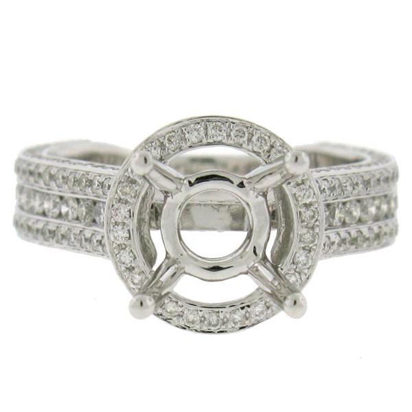 1.60ct 18k White Gold Diamond Semi-mount Ring Size 7