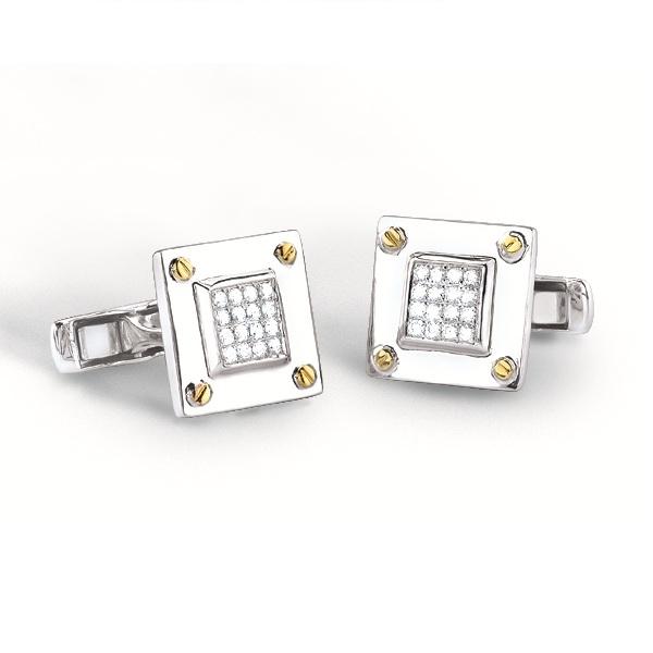 0.40ct 14k Two-tone Diamond Cuff Links