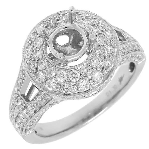 1.30ct 18k White Gold Diamond Semi-mount Ring