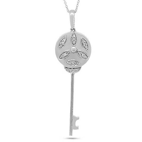 0.10ct 14k White Gold Diamond Key Pendant Necklace