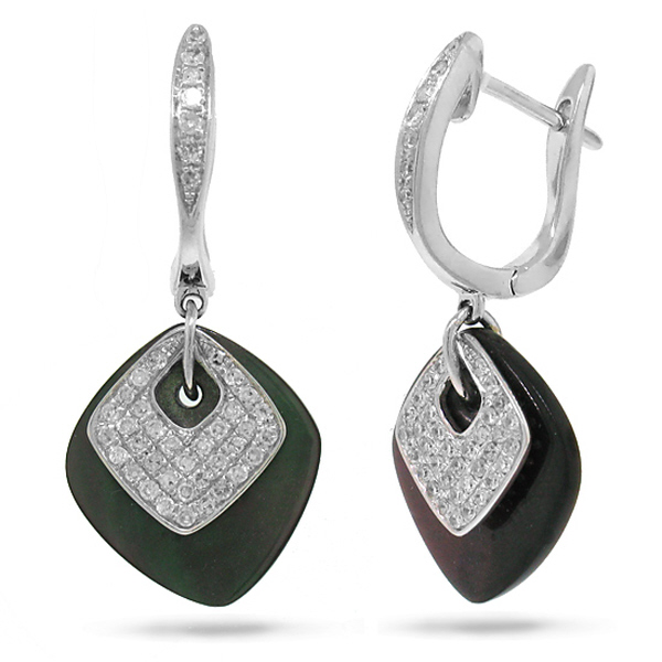 0.36ct 14k White Gold Diamond & Mother Of Pearl Earrings