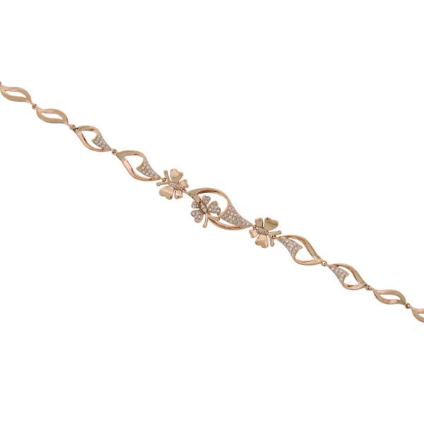 0.30ct 14k Rose Gold Diamond Butterfly Bracelet