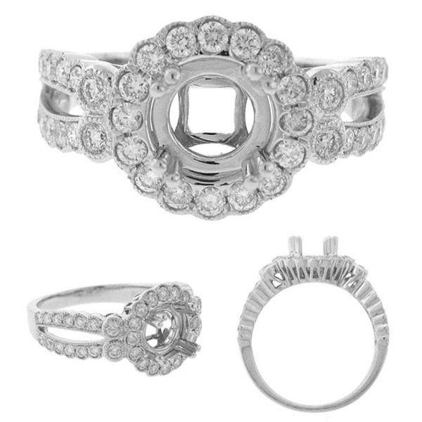 0.75ct 18k White Gold Diamond Semi-mount Ring