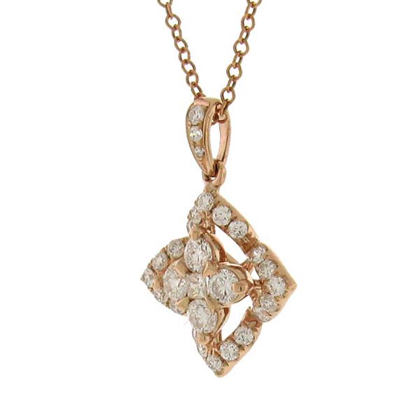 0.55ct 14k Rose Gold Diamond Pendant Necklace