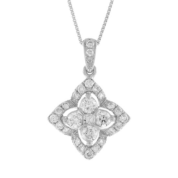 0.55ct 14k White Gold Diamond Pendant Necklace