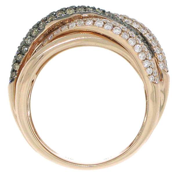 1.60ct 14k Rose Gold White & Champagne Diamond Bridge Ring