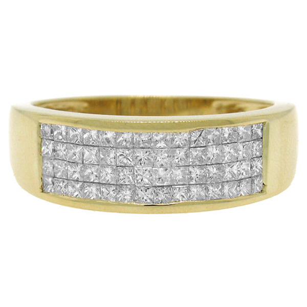 1.10ct 18k Yellow Gold Diamond Invisible Men's Band