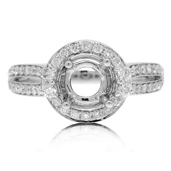 0.65ct 14k White Gold Diamond Semi-mount Ring
