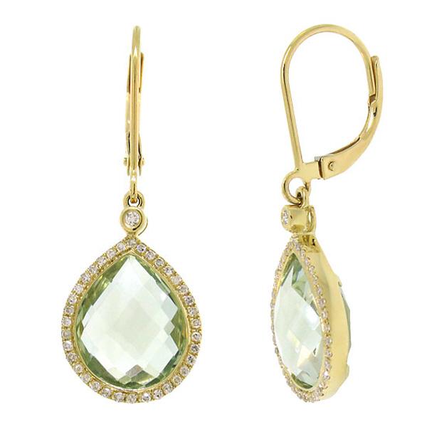 0.25ct Diamond & 9.37ct Green Amethyst 14k Yellow Gold Earrings