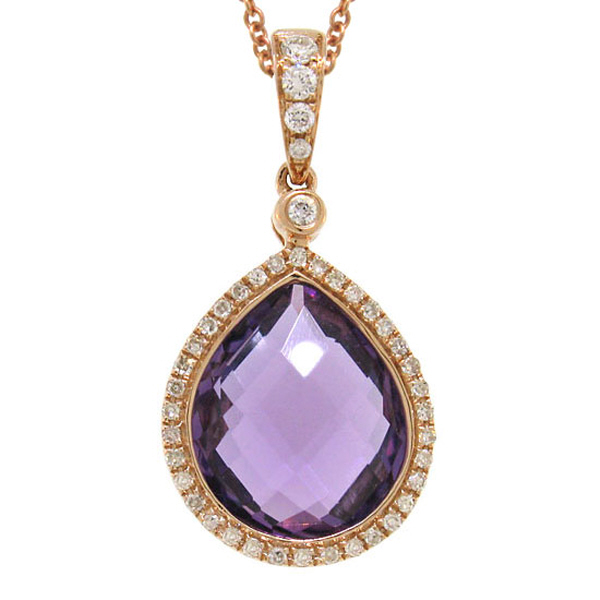 0.17ct Diamond & 4.36ct Amethyst 14k Rose Gold Pendant Necklace