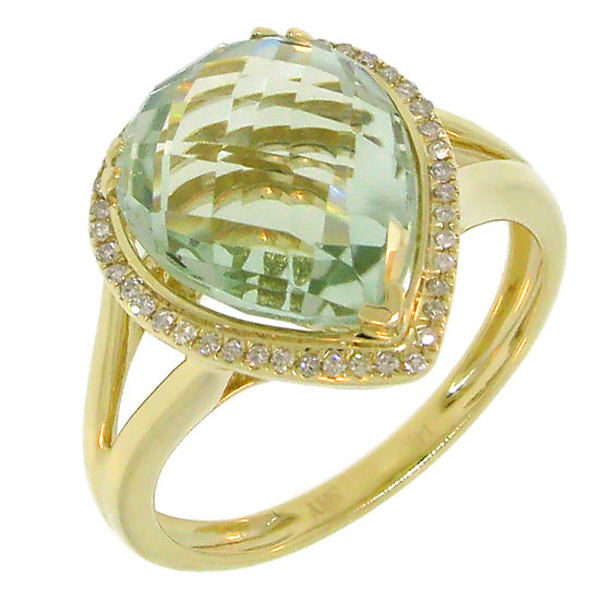 0.11ct Diamond & 4.75ct Green Amethyst 14k Yellow Gold Ring