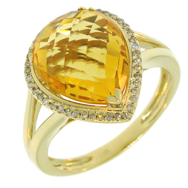 0.11ct Diamond & 4.47ct Citrine 14k Yellow Gold Ring