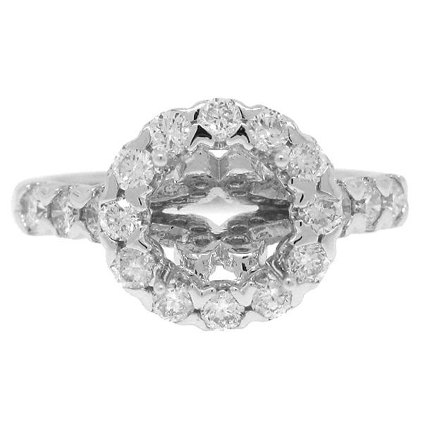 0.86ct 18k White Gold Diamond Semi-mount Ring