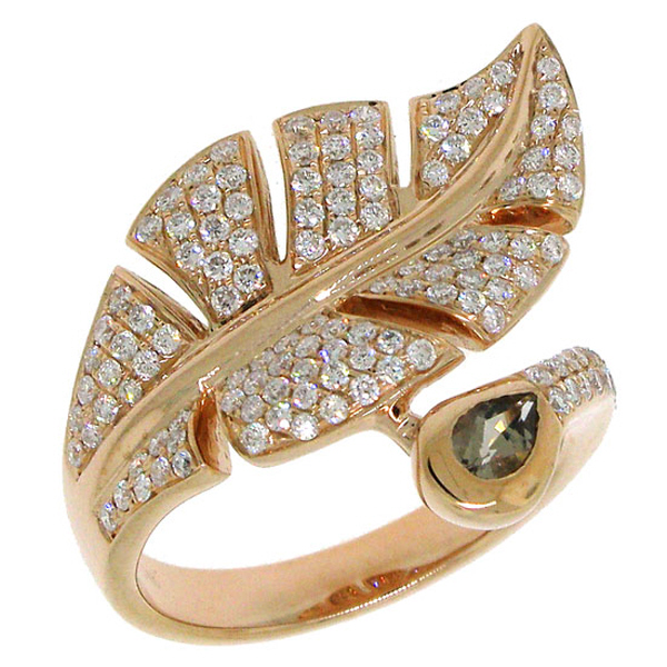 0.84ct Diamond & 0.27ct Smokey Quartz 14k Rose Gold Leaf Ring