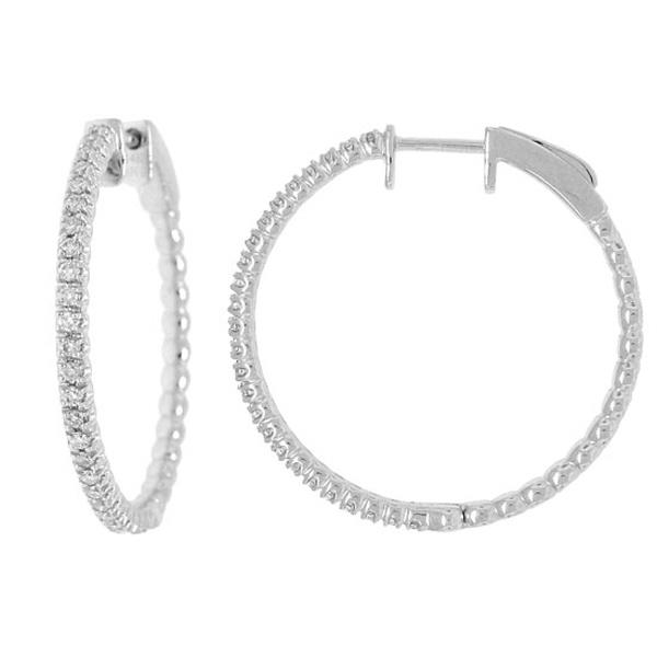 0.47ct 14k White Gold Diamond Hoop Earrings