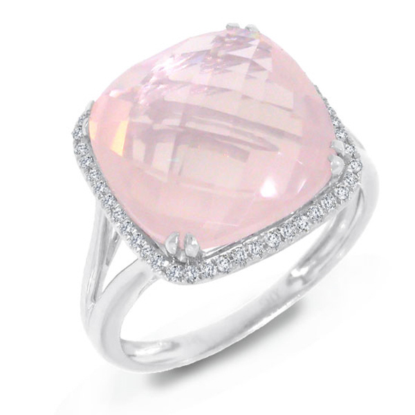 0.12ct Diamond & 8.68ct Rose Quartz 14k White Gold Ring