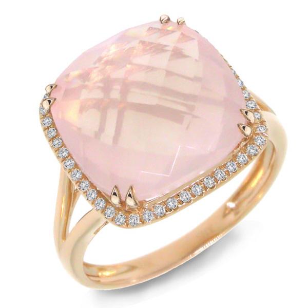0.12ct Diamond & 8.68ct Rose Quartz 14k Rose Gold Ring