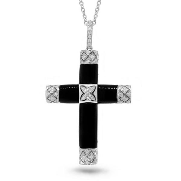 0.19ct 14k White Gold Diamond & Onyx Cross Pendant Necklace