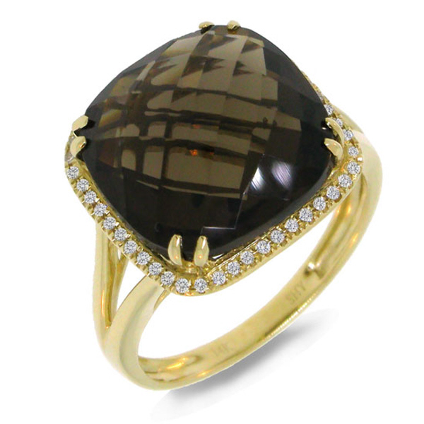 0.12ct Diamond & 8.62ct Smokey Quartz 14k Yellow Gold Ring
