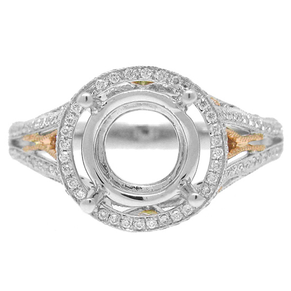 0.43ct 18k Two-tone Rose Gold Diamond Semi-mount Ring