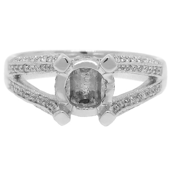 0.35ct 18k White Gold Diamond Semi-mount Ring