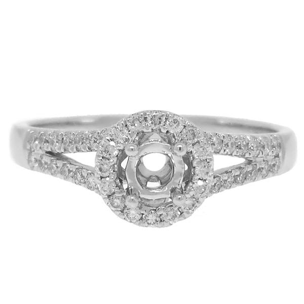 0.29ct 14k White Gold Diamond Semi-mount Ring