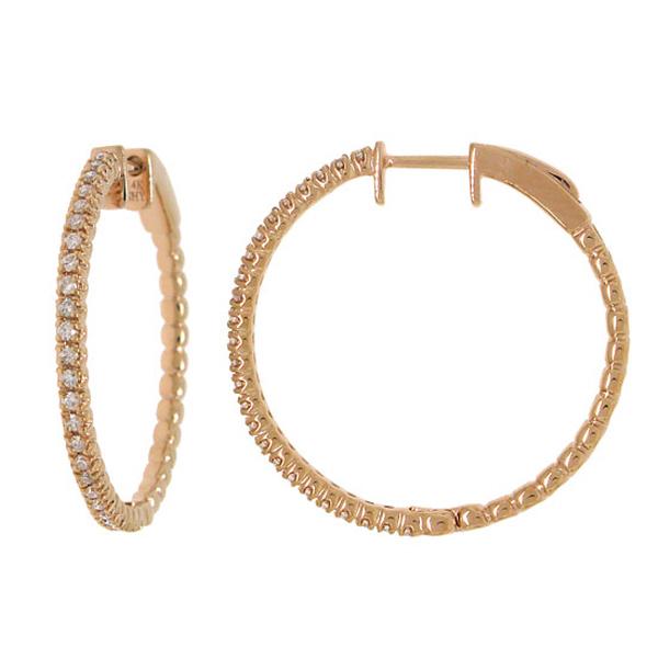 0.47ct 14k Rose Gold Diamond Hoop Earrings