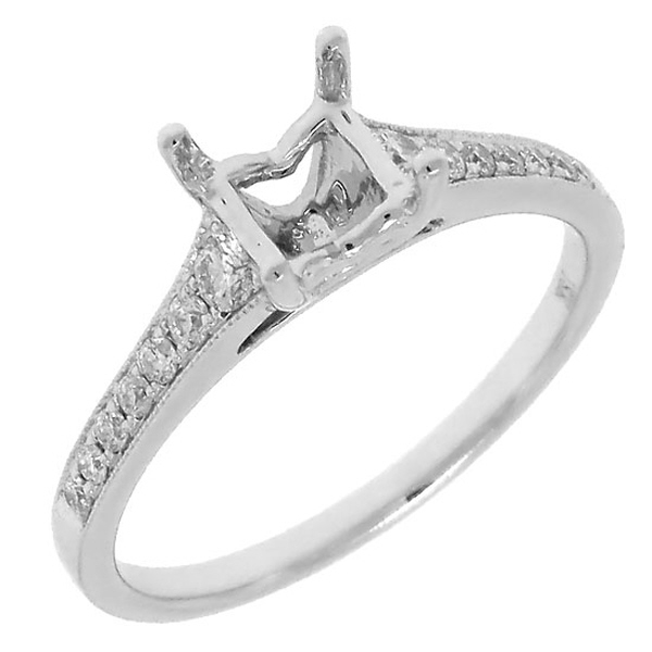 0.24ct 18k White Gold Diamond Semi-mount Ring