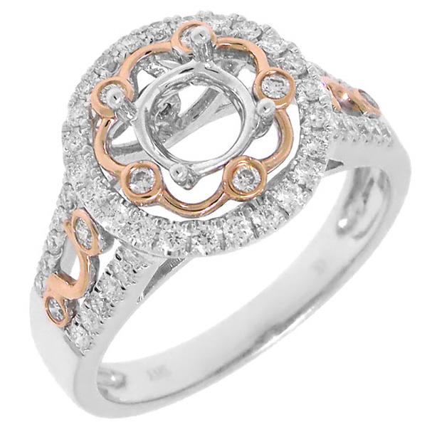 0.52ct 14k Two-tone Rose Gold Diamond Semi-mount Ring