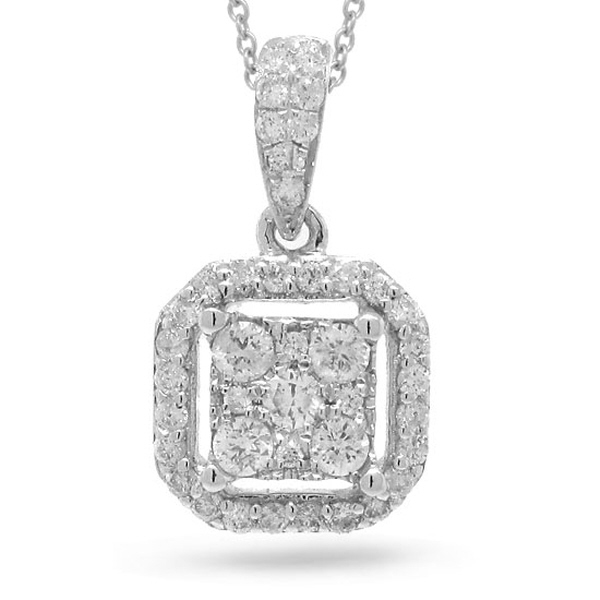 0.29ct 14k White Gold Diamond Pendant Necklace