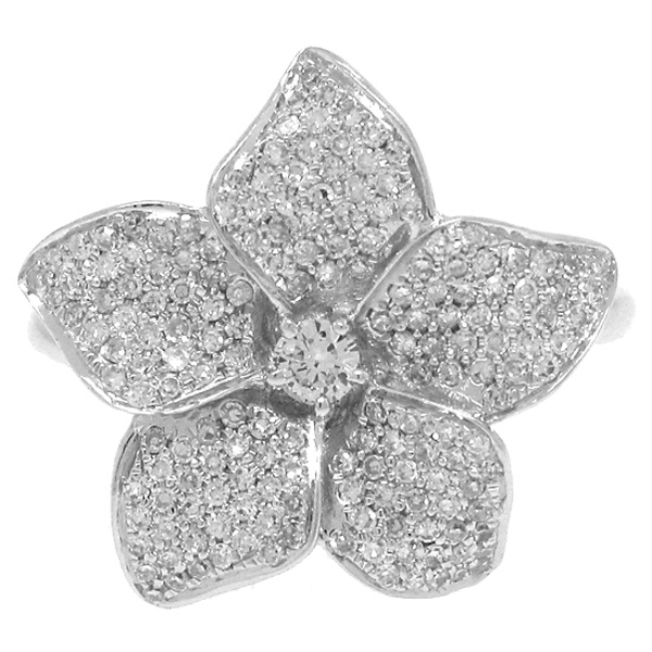 0.51ct 14k White Gold Diamond Flower Ring
