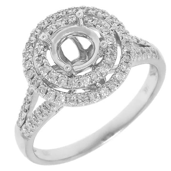 0.42ct 14k White Gold Diamond Semi-mount Ring