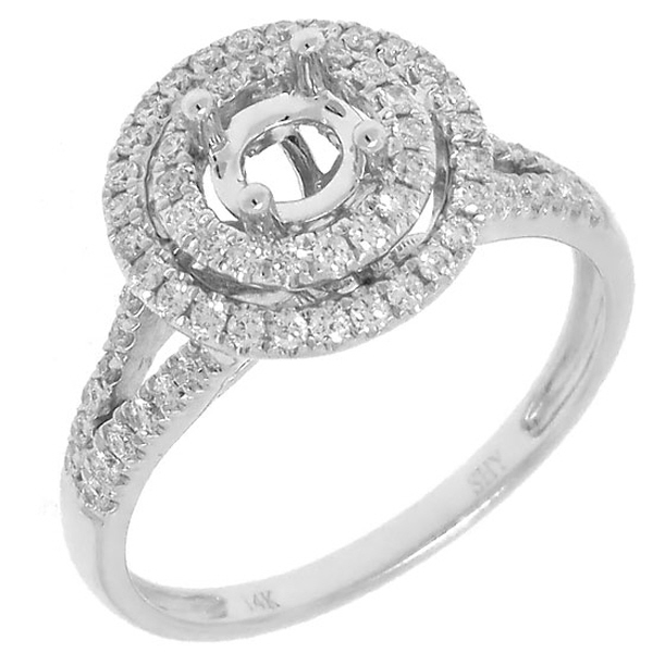 0.41ct 14k White Gold Diamond Semi-mount Ring