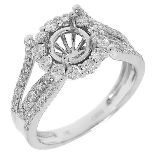 0.94ct 14k White Gold Diamond Semi-mount Ring