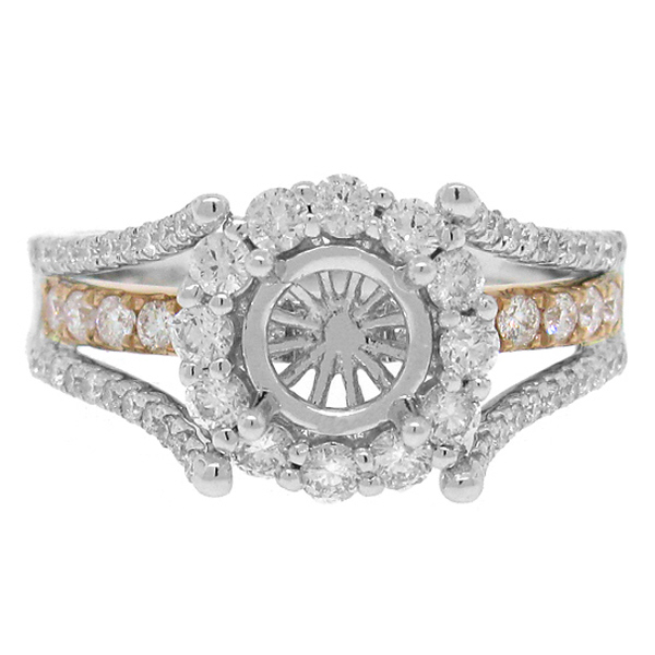 0.94ct 14k Two-tone Rose Gold Diamond Semi-mount Ring