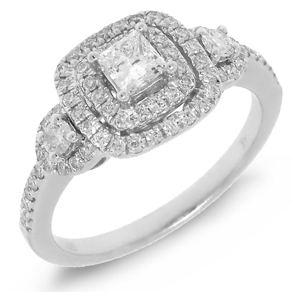 0.31ct Princess Cut Center and 0.49ct Side 14k White Gold Diamond Engagement Ring