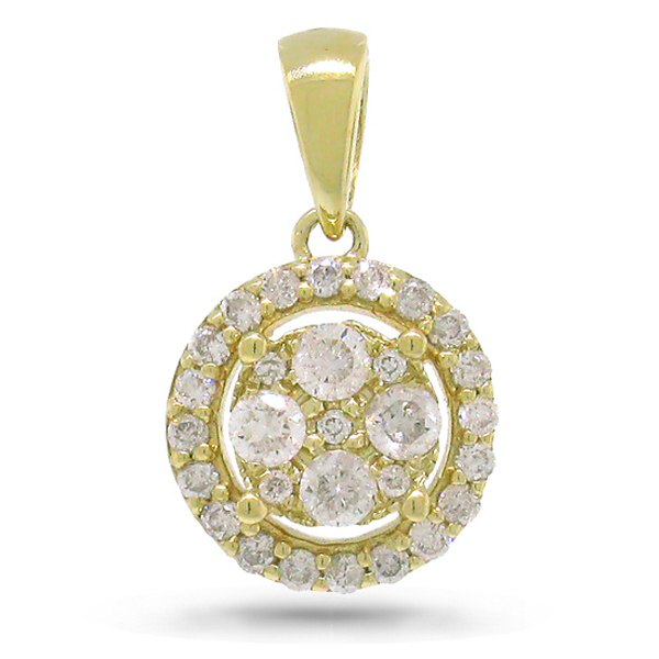 0.28ct 14k Yellow Gold Diamond Pendant Necklace