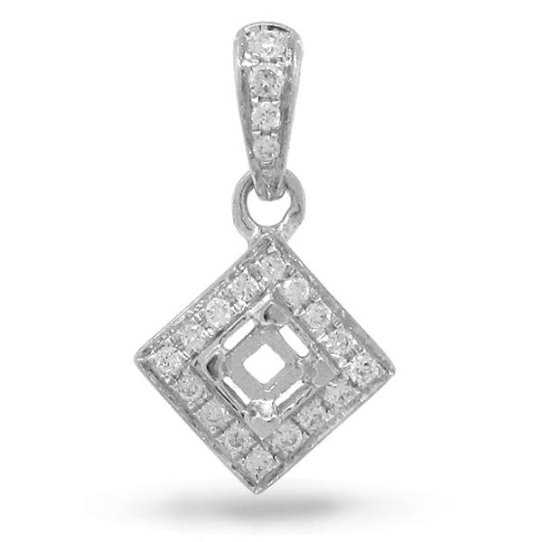 0.06ct 14k White Gold Diamond Semi-mount Pendant Necklace