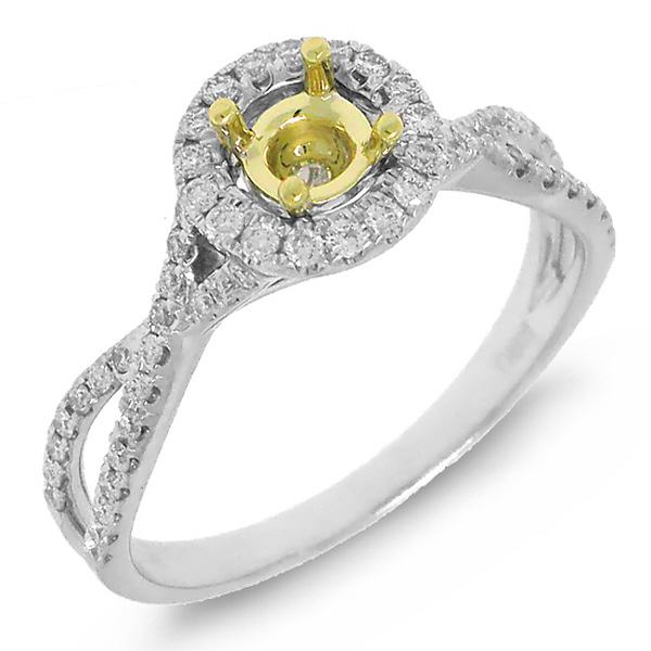 0.29ct 14k Two-Tone Gold Diamond Semi-mount Ring