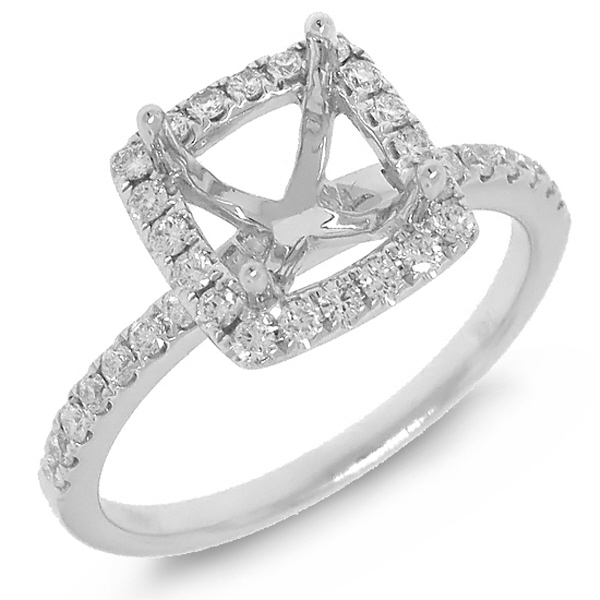 0.34ct 14k White Gold Diamond Semi-mount Ring