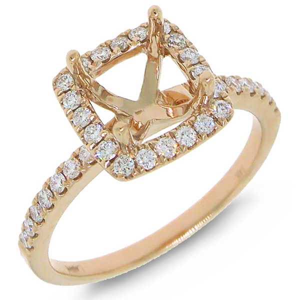 0.34ct 14k Rose Gold Diamond Semi-mount Ring
