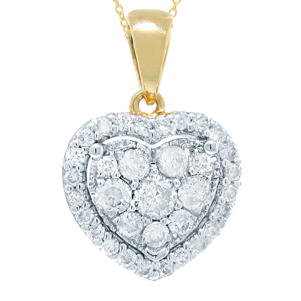 0.47ct 14k Two-tone Gold Diamond Heart Pendant Necklace