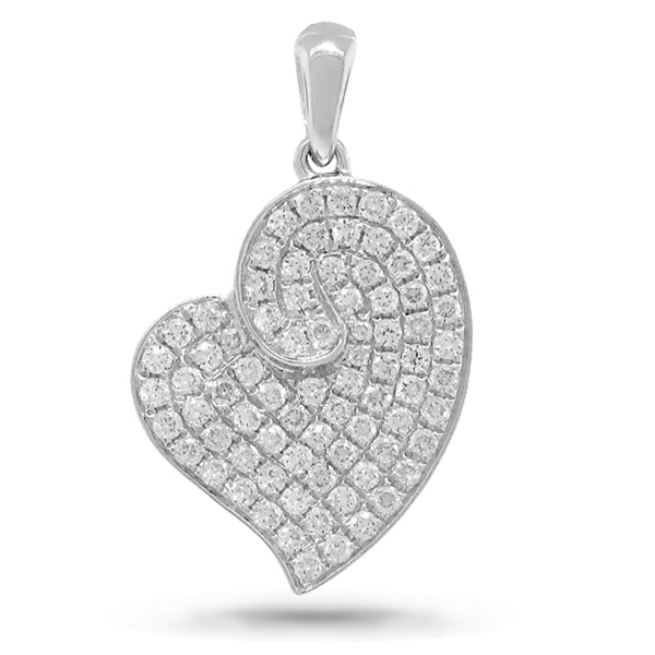 0.42ct 14k White Gold Diamond Heart Pendant Necklace