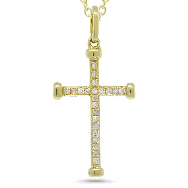 0.08ct 14k Yellow Gold Diamond Cross Pendant Necklace