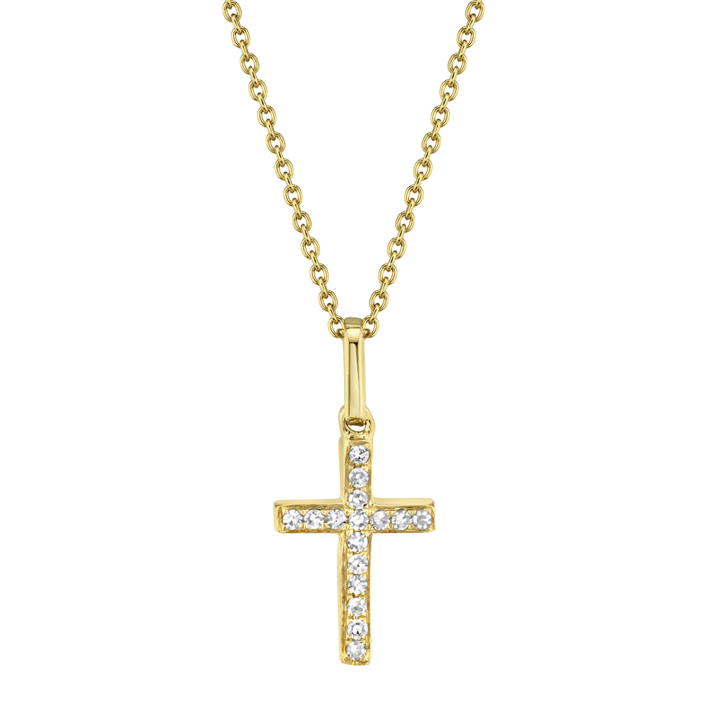 0.06ct 14k Yellow Gold Diamond Cross Pendant Necklace