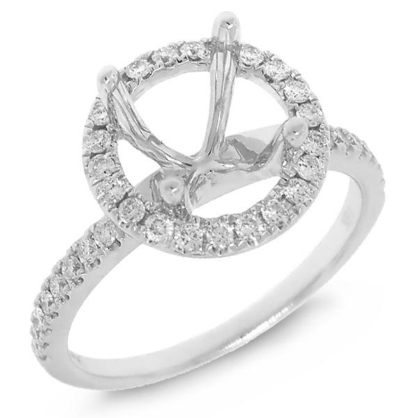 0.38ct 18k White Gold Diamond Semi-mount Ring